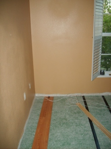 The green carpet-esque stuff is the underlayment, and this is the picture of our first piece of laminate we laid!