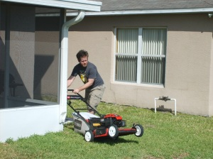 Action shot, me and my new fancy dancy lawn mower.