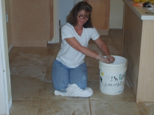 Groutfest '09 - my mom is layin' that grout!