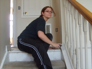 Allison was also enlisted to help on the stairwell.