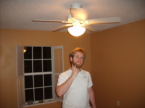 I have a brilliant idea!  Why don't I install a ceiling fan light in Jason's room?